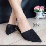 รองเท้าคัทชู เปิดส้น หัวแหลมแต่งเพชรด้านหน้า สวยหรู เสริมส้นเล็กๆ ดูเก๋ไก๋ แมทช์กับชุดไหนๆ ก็เข้ากัน สีดำ เทา