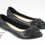 รองเท้าคัชชูส้นเตี้ย กริตเตอร์ประดับดอกไม้ด้านหน้า สไตล์หวานน่ารัก งานดี ขับสีผิว
