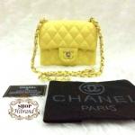 กระเป๋า Chanel Classic Mini 7 นิ้ว เย็บตารางนูนสวย แต่งโลโก้ CC ด้านในบุอย่างดี สายสะพายโซ่ พร้อมการ์ดและถุงผ้างผ้า