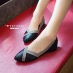 รองเท้าคัทชู ส้นแบน สวยเก๋ สีทูโทน ดีไซน์หัวแหลม ทำให้เท้าดูเรียวขึ้น มีส้นสูงจากพื้นนิดหน่อย เพียง 0.5 นิ้ว ทรงสวย สีเรียบคุมโทน ดูดี ใส่กับ ชุดได้ก็เก๋มาก (NF85-46)