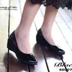 รองเท้าคัชชู หนังแก้วนิ่ม ส้นเตารีด เรียบหรู น้ำหนักเบา พื้นนิ่ม ใส่ได้หลากหลายโอกาส สูง 3 นิ้ว สีดำ