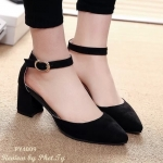 รองเท้าคัทชู แฟชั่นนำเข้า แบบหุ้มส้น รัดข้อ ทรงสวยเรียบหรู ดูเท้าเรียว ส้นสูงประมาณ 2 นิ้ว กำลังพอดี สวมใส่สบาย แมทได้ทุกชุด สีดำ เทา