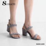 รองเท้าแฟชัน ส้นเหลี่ยม หนังกำมะหยี่นิ่ม สายคาดหน้าถักเปีย หรูและเก๋ งานนำเข้า สายรัดข้อปรับระดับได้ ส้นเหลี่ยม สูง 3 นิ้ว งานสวยเป๊ะตามรูป ใส่กับชุดได้หลากหลายสไตล์