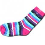 ถุงเท้า สีชมพู-ฟ้า-ม่วง-ดำ ลายขวาง 16CM