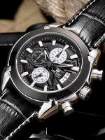 MEGIR WATCH นาฬิกาข้อมือ สายหนังแท้ รุ่น V01-BLK