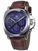 MEGIR WATCH นาฬิกาข้อมือ สายหนังแท้ รุ่น L01-BR-SP
