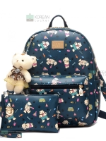 BEI BAO BAO Back pack ของแท้ (กระเป๋าเป้ สะพายหลัง) BA051 สีน้ำเงิน แถมกระเป๋าเล็กพร้อมหมี พร้อมส่ง