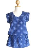 เสื้อ / เดรส ทูอินวัน เสื้อเอวผูก ยีนต์เทียมสีน้ำเงิน ลายจุด ผ้าคอตตอน