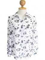 ชีฟองผ้าบางเบา สไตล์เชิ๊ต สีขาวลายดอกไม้สีดำ