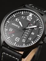 นาฬิกาข้อมือแฟชั่นชาย สายหนัง วินเทจ Infantry Watch รุ่น FS-006-BLK-BL