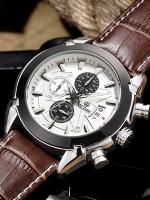 MEGIR WATCH นาฬิกาข้อมือ สายหนังแท้ รุ่น V01-BR