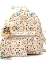 BEIBAOBAO Back pack ของแท้ (กระเป๋าเป้ สะพายหลัง) BA051 สีครีม แถมกระเป๋าเล็กพร้อมหมี พร้อมส่ง
