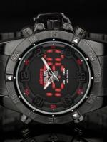 นาฬิกาสายเหล็กดำ ดิจิตอล LED รุ่น IN-061-R-S (In-Stock)