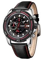 MEGIR WATCH นาฬิกาสปอร์ต สายหนัง รุ่น C01-BLK-Red