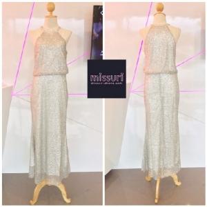 ชุดไปงานแต่งงาน ชุดราตรียาวออกงานหรู maxi dress เซ็กซี่ ผ้าเลื่อมเว้าแขนปิดคอทรงเข้ารูป