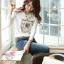 [พร้อมส่ง] เสื้อทำงานแฟชั่นเกาหลี คอกลม แขนยาว สีขาว - [In Stock] Women Korean Hitz Slim Round Neck Long-sleeve White Shirt thumbnail 1