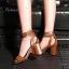 รองเท้าส้นสูง HIGH CLASS LUXURY COLLECTION สายหนังกลับเก๋ไก๋ ด้วยวัสดุหนัง pu ฟอกเลียนแบบหนังแท้ งานคุณภาพดีอยู่ทรง สายพันข้อเท้า แบบ 2 รอบปรับระดับได้ อะไหล่ตะขอสีทองเงา ส้นหนาเดินง่ายใส่สบาย งาน จริงสวยหมือนแบบ แมชชุดได้หลายแนว thumbnail 5