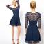 **พรีออเดอร์** ชุดเดรสผู้หญิงแฟชั่นยุโรปใหม่ แขนยาว ลูกไม้ พร้อมเข็มขัด แบบเก๋ เท่ห์ / **Preorder** New European Hollow Lace Stitching Fashion Slim Sexy Dress with Belt thumbnail 1