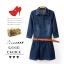 พรีออเดอร์ ชุดเดรสยีนส์ผู้หญิงแฟชั่นยุโรปใหม่ แขนยาว หร้อมเข็มขัด แบบเก๋ เท่ห์ - Preorder New European Fashion Long-Sleeved Denim Dress with Belt thumbnail 1