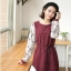 [พรีออเดอร์] เสื้อเดรสแฟชั่น Orange Bear แขนยาวลูกไม้ คอกลม เสื้อตัวยาว เก๋ น่ารัก - [Preorder] Women ฺHitz Korean version Orange Bear of Round Neck LaceLong-sleeved Dress thumbnail 2