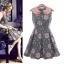**พรีออเดอร์** ชุดเดรสผู้หญิงแฟชั่นยุโรปใหม่ แขนกุด สวยหวานลายดอกกุหลาบ แบบเก๋ เท่ห์ / **Preorder** New European Fashion Slim Rose Ruili Doll Collar Sleeveless Dress thumbnail 1