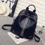 """กระเป๋าเป้ korea fashion backpack แบบ super black ตอกอะไหล่เงินสุดเทห์ หนังนิ่มน่าใช้ ด้านหลังมีช่องซิปลับใส่ของได้ สีดำ Size 12"""" thumbnail 1"""
