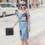[พรีออเดอร์] เสื้้อเดรสยีนส์แฟชั่นเกาหลีใหม่ แขนกุด สำหรับผู้หญิงไซส์ใหญ่ - [Preorder] New Korean Fashion Jeans Dress Sleevedless for Large Size Woman thumbnail 1