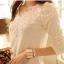 [พร้อมส่ง] เสื้อทำงานแฟชั่นเกาหลี คอกลม แขนยาว ลูกไม้ สีขาว - [In Stock] Women Korean Hitz Slim Round Neck Long-sleeve Lace White Shirt thumbnail 1