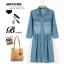 **พรีออเดอร์** ชุดเดรสยีนส์ผู้หญิงแฟชั่นยุโรปใหม่ แขนยาว กระโปรงพลีท แบบเก๋ เท่ห์ / **Preorder** New European Fashion Long-Sleeved Denim Dress thumbnail 1