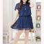 พรีออเดอร์ ชุดเดรสแฟชั่นเกาหลีใหม่ ผ้าชีฟอง น้ำหนักเบา ลายดาวดวงน้อย ๆ น่ารัก สำหรับผู้หญิงไซส์ใหญ่ - Preorder New Korean Fashion Thin Waist Dress with Little Star Print Design for Large Size Woman thumbnail 1