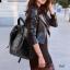 """กระเป๋าเป้ korea fashion backpack แบบ super black ตอกอะไหล่เงินสุดเทห์ หนังนิ่มน่าใช้ ด้านหลังมีช่องซิปลับใส่ของได้ สีดำ Size 12"""" thumbnail 2"""