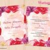 D90064 การ์ดแต่งงาน การ์ดเชิญ ลายดอกไม้สีแดง