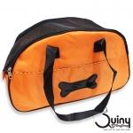 กระเป๋าใส่สุนัข ลายกระดูก สีส้ม