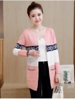เสื้อคลุมแฟชั่นเกาหลี ผ้าหนานิ่มยืดหยุ่น ทอลายตามภาพ มีกระเป๋า