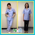 ชุดอนามัยชุมชน เข้ารูป (ผู้หญิง) พร้อมกางเกง (สีฟ้า)