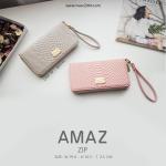 กระเป๋าสตางค์ ใบยาว ซิปรอบ รุ่น AMAZ ZIP สีเทา