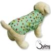 เสื้อสุนัข แขนกุด ลายกระดุมสีเขียว