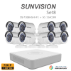sunvision 1MP HD (ชุดสุดโปรโมชั่นกล้อง 8 ตัว ) (DS-7108HGHI-F1x1+SC-116C0IRx8)