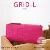 กระเป๋าสตางค์ผู้หญิง รุ่น GRID-L สีชมพูเข้ม ใบยาว สองซิป