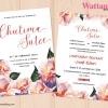 การ์ดแต่งงาน การ์ดเชิญงานแต่งงาน ลายวินเทจดอกไม้ D90092