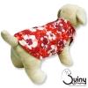 เสื้อสุนัข แขนกุด ลายดอกสีชมพู