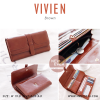 กระเป๋าสตางค์ผู้หญิง รุ่น VIVIEN สีน้ำตาล ใบยาว