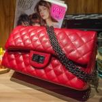กระเป๋าหนังแกะ Red ทรงชาแนล คลาสสิก (28x17x8cm) SALE !!!
