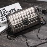 หนังแกะ ทรง Chanel สีเงิน/ กระเป๋าหนังแท้