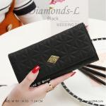 กระเป๋าสตางค์ผู้หญิง ใบยาว รุ่น DIAMONDS-L สีดำ