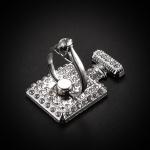 แหวนมือถือ ขวดน้ำหอมประดับคริสตัล (Silver)
