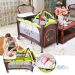 ฺB10102 Playpen เตียงนอนเด็ก แบบน่ารัก สินค้าใหม่นำเข้าพร้อมชั้นวางที่เปลี่ยนผ้าอ้อม ( A1สีน้ำตาล)