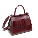 กระเป๋าหนังวัว รุ่น boyy karl wine red 30 Cm (หนังมันเงา)