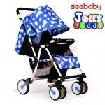 C10184 รถเข็นเด็ก ฺSeebaby ( cowy model) ลายจุดสัฟ้าขาว