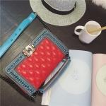 กระเป๋าหนัง ทรงชาแนลบอย Happy summer (Red-Gray) 10 นิ้ว